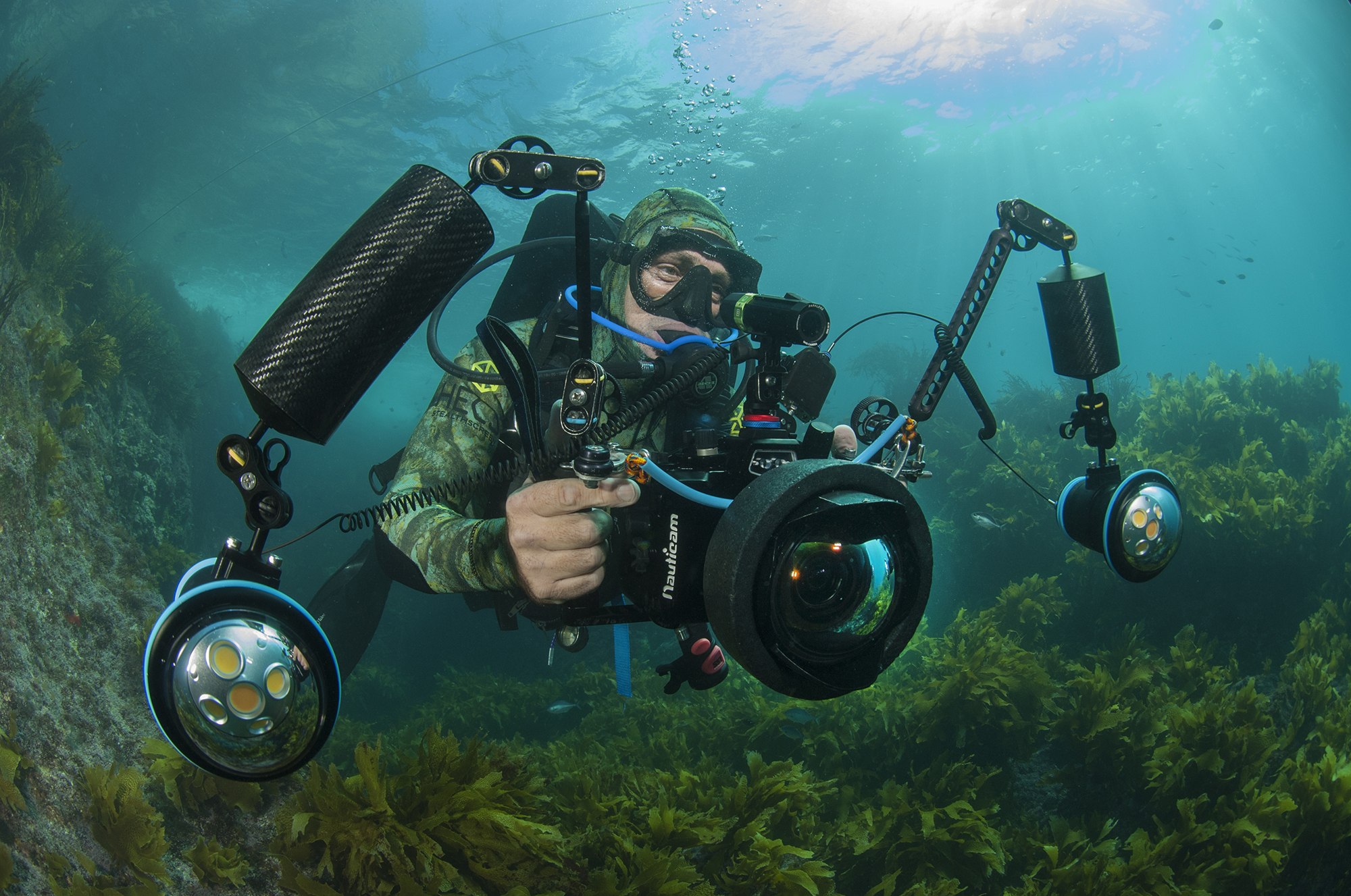 Underwater cameraman Dave Abbott filming off the Poor Knights Islands in New Zealand
