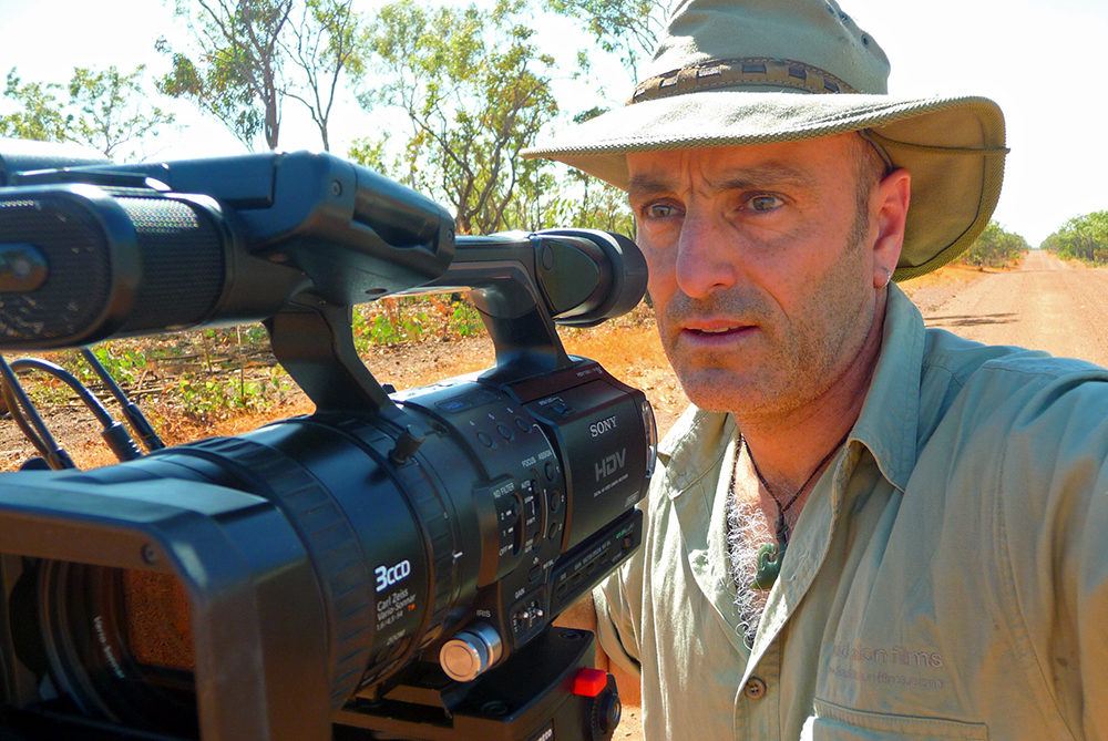 Dave Abbott filming in the Outback Australia
